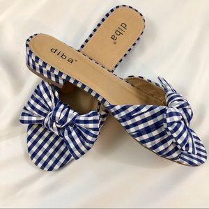 Diba Blue Gingham Gizmo Flat Sandal